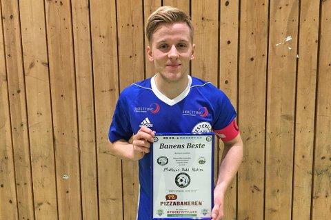 BANENS BESTE: Mathias Dahl Abelsen ble kåret til banens beste spiller på Nordlys' spillerbørs - og også av OMT Fotballside.