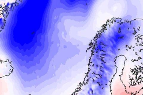 Kalde luftstrømmer vil få det til å kjennes ekstra kaldt ut de neste dagene. Illustrasjon: Meteorologisk institutt