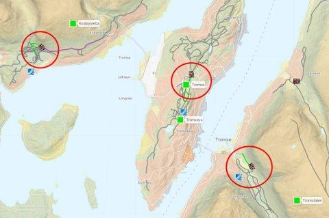 TRÅKKER TIL: Skiforholdene er for tiden best på Kvaløya og innerst i Tromsdalen, opplyser Bydrift. Skjermdump: Skisporet.no