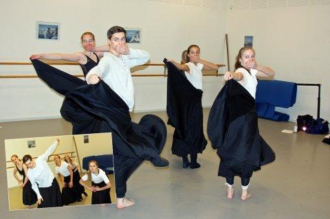 KLARE FOR OPERAEN: Vilde Jenssen, Thea Evenstad, Elisa Jacobsen, Finn Richard James og Nora Amundsen fra danselinja på Kongsbakken skal debutere på operaen 21. desember. Foto: Are Medby