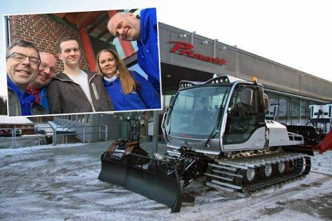 MILLIONLØFT: Sør-Kvaløya IL skigruppa har investert i ny tråkkemaskin til 2,2 millioner kroner. Det er et enormt løft for klubben og styret. Innfelt f.v: Ole-Andrè Helgaas, Kjetil Bårdsen, Runar B. Andreassen, Lill-Hege Johansen og Gaute Svendsen. Roy-Lars Olsen og Wenche Larsen mangler på bildet.