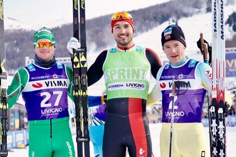 Andreas Nygaard (midten) vant La Sgambeda i Italia foran Torgeir Skare Thygesen (t.v.) og Stian Hoelgaard.
