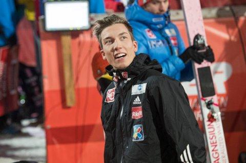 HOPPET LANGT: En fornøyd Johann Andre Forfang i  kvalifiseringen  i  Oberstdorf før åpningsrennet i hoppuka.