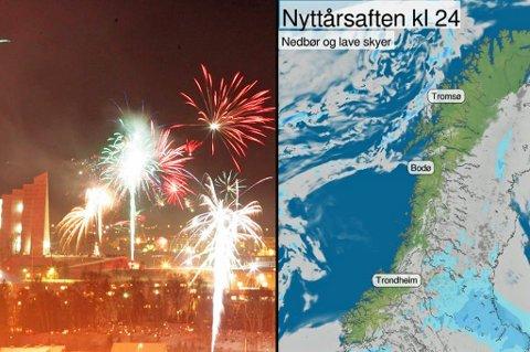 RAKETTVÆR: Kartet viser prognosene for årets nyttårsvær. Det meste av Nord-Norge ligger an til klarvær, men det lusker noen byger utenfor kysten av Troms, som kan sette sitt preg på nyttårsfeiringen. Foto: Yr/arkiv