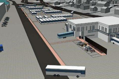 BUSSDEPONI: Det blir plass til 165 busser på toma, i tillegg til servicebygg, fryse- og logistikkterminal og 100 parkeringsplasser