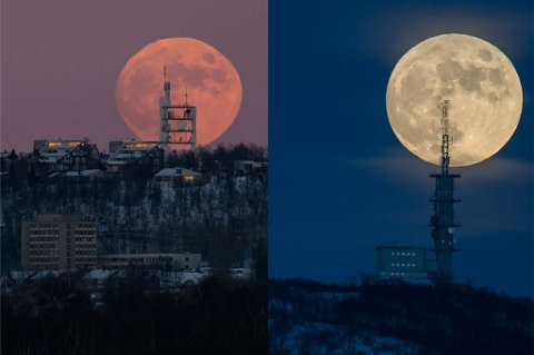 PERFEKTE FORHOLD: - De siste dagene har det vært perfekte forhold for månefotografering. Klarvær, stjerneklart og fint lys. Jeg har tenkt på å ta bilder som dette i to år, forteller Tromsø-fotografen Ole Christian Salomonsen.
