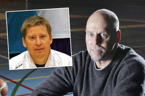 HEDRES: Jeff Lange og Tom Wilsgaard (innfelt) hedres av Tromsø Storm, med å frede draktene de brukte i sine 15-16 år i klubbens A-lag.