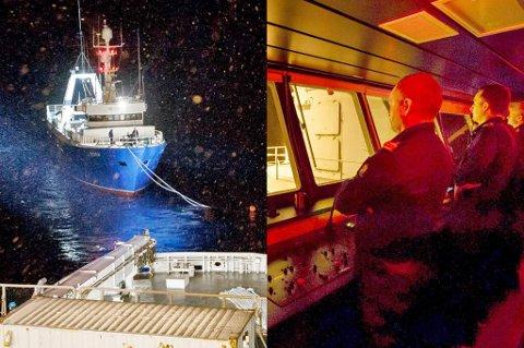 REDDER: Skipssjef kapteinløytnant Frode Paulsen styrer operasjonen fra bro KV Svalbard. Lørdag kveld er de ventet å nå Tromsø etter nærmere to døgn med en russisk havarist på slep. Foto:
