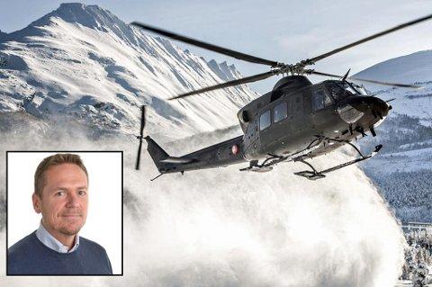 VIKTIGE: Avdelingsdirektør for Hovedredningssentralen Nord-Norge, Bent-Ove Jamtli, forteller at Bell-helikoptrene er viktige i beredskapen i nord. Foto: HRS/Forsvaret