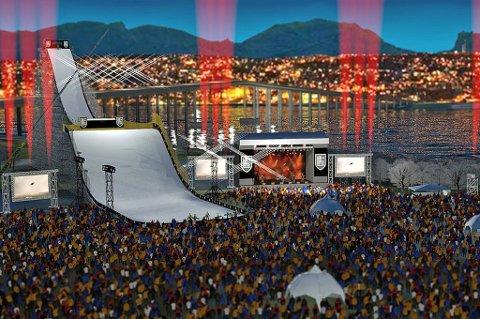 TIL TROMSØ? Slik så Anders Nordøy Snellingen for seg at Air+Style-arrangementet kan bli seende ut, dersom Europas største snowboardkonkurranse kommer til Tromsø.
