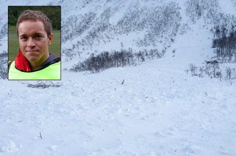 SKREDFARE: Odd Arne Mikkelsen (innfelt) i NVE advarer mot økt snøskredfare i Troms i helgen. Her fra et tidligere skred på Kattfjordeidet på Kvaløya i Tromsø.