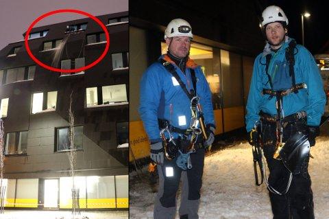 I KLATRETAU: Høyt der oppe i den øverste vinduskarmen fjerner Daniel Lorentzen snø og is.