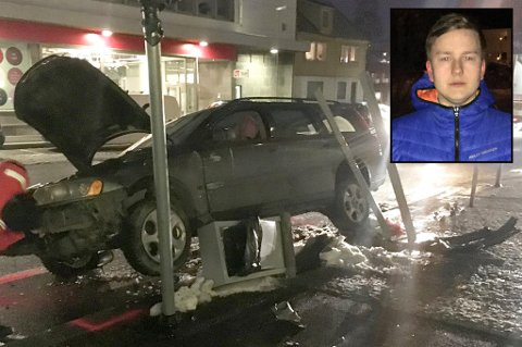 I SPEILET: Kristian Allertsen så bilen i sidespeilet, før den bommet på avkjørselen til Elvegata og fløy opp i lufta.