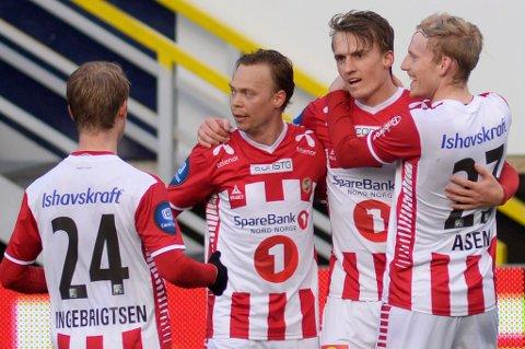Magnus Andersen (nummer to f.v.) er ikke med i TILs tropp til kampen mot Djurgården. Det er derimot Mikael Norø Ingebrigtsen, Runar Espejord og Gjermund Åsen.