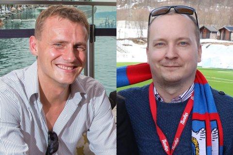FÅR BESTEMME: Thomas Heide (t.v.) er en av de største spillerlegendene i TUILs historie. Nå skal han tre inn i styret i TUIL Fotball, sammen med tidligere Tindfotingan-leder og skuespiller Espen Renø Svendsen.