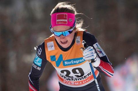 Anna Svendsen i full fart på vei gjennom prologen i Drammen onsdag.