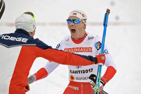 Finn Hågen Krogh jublet for VM-gull på stafetten i Lahti i mars. Nå kommer han til Spanstind Rundt.