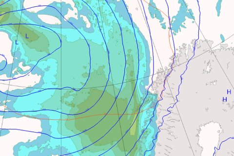 KAN BLI STORM: Disse prognosene viser værbildet klokken 06.00 torsdag morgen. Det grønne man ser utenfor kysten er uværet