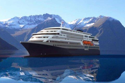 LIKT: Skipene de designet har en passasjerkapasitet på 600- 800 passasjerer, noe som er ganske likt det dagens Hurtigrute-skip kan ta. Lengden er lagt opp til 140 meter, mens bredden er 22-33 meter.