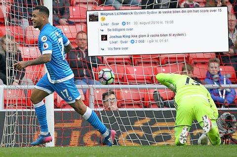 15 MÅL: Her har nordmannen Joshua King akkurat satt inn 1-0 til Bournemouth over Sunderland i helgen. Ikke lenge etter tok han til Facebook for å minne Magnus Lichtwarck om veddemålet han hadde inngått åtte måneder tidligere.