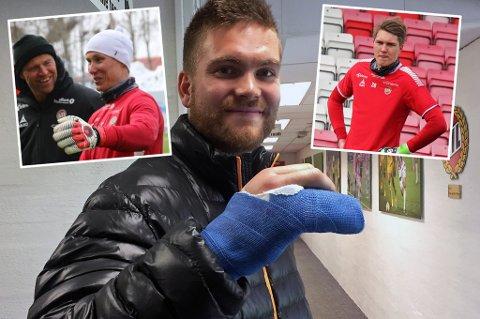 Gudmund T. Kongshavns brudd i ringfingeren kan åpne for TIL-debutant i eliteserien mot Sarpsborg 08. Hverken Otto Fredrikson (innfelt t.v) eller Jacob Karlstrøm (innfelt t.h) har spilt for TIL på øverste nivå.