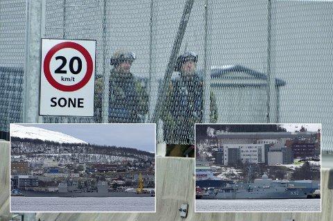 NORSKE VAKTER: FOH bekrefter at en «sammensatt gruppe» vokter de to allierte skipene ved den sivile havnen i Tromsø.
