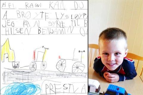 BREV: Fem år gamle Benjamin vil gjerne sykle til barnehagen. For å få hjelp av politikerne sendte han dette brevet. Foto: Privat