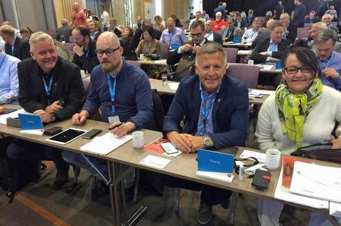 FIKK STØTTE: Tromsdelegasjonen fikk støtte for ambulanse jetfly mellom Svalbard og Tromsø. Her representert ved Line Miriam Sandberg, John Karlsen og Eivind Stene.