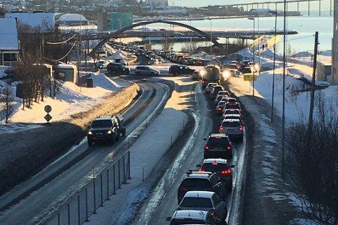 REKLAME: FpU-leder Bjørn-Kristian Svendsrud vil finansiere infrastruktur med reklame langs veiene. Her er Tverrforbindelsen i Tromsø.