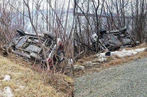 OPP-NED: Bilen har havnet opp-ned utenfor veibanen. Bileieren var ikke å se.