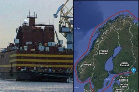 SLEPES NORDOVER: Lekteren «Akademik Lomonosov» er en prototype på et flytende russisk atomkraftverk og skal slepes langs norskekysten fra St. Petersburg til Murmansk.