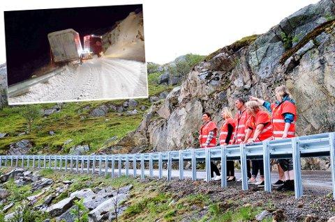 Bildet er fra befaringen langs fylkesveg 57 til Tromvika på Kvaløya i Troms. Foto: Statens vegvesen/Geir Bakkevoll