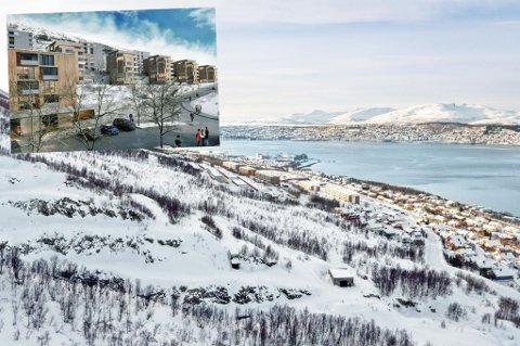Nå har de satt ned priosen for å få solgt den ferdigregulerte tomta på Lunheim i Tromsø. Foto: EM1/ Inviso