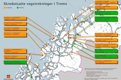 SKREDUTSATT: Statens vegvesen har definert om lag 600 punkter på vegene i Nord-Norge med potensial for å bli rammet av snø-, stein-, flom-, eller jordskred. Dette er de mest skredutsatte vegstrekningene i Troms.