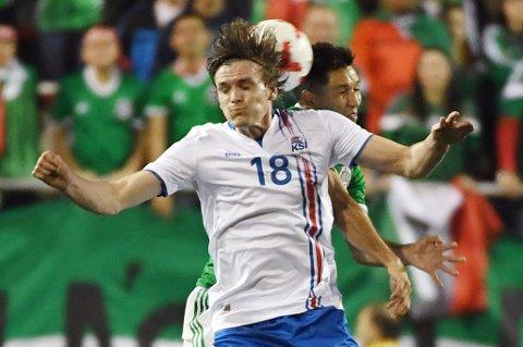 Kristjan Floki Finnbogason fra A-landslagsdebuten mot Jesus Molina og Mexico i februar. Den 22 år gamle spissen er i TILs søkelys, sammen med andre målscorere i den islandske ligaen.