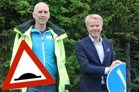 MÅ BEARBEIDE LØYPA: Utflating av fartshumper er et av tiltakene som må gjennomføres i forbindelse med Arctic Race-etappen i Tromsø, forteller Odd Helge Vekve, fagleder for Bydrift, og Rune Kufaas, prosjektleder for rittet i Tromsø kommune.