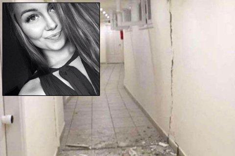 HOTELLET GYNGET: Malin Olsen Lilland (19) tok dette bildet i natt, som viser skadene på hotellet.
