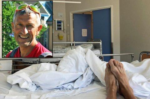 PÅ SYKESENGA: Espen Nordahl måtte tilbringe helga på sykehus. Nå er han sykemeldt, men håper å snart være tilbake på jobb. Foto: Astrid Øvre Helland/Privat