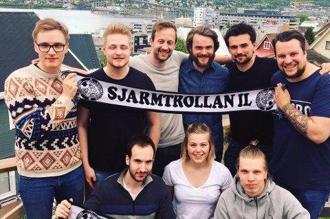 OVER TO TUSEN DUGNADSTIMER: Arrangementskomiteen i Sjarmtrollan legger ned 2.500 dugnadstimer for å arrangere UEFA futsal cup i Tromsø. Blant annet er disse med (bak f.v): Stian Larsen, Magnus Leonhardsen, Sveinung F. Karlsen, Andreas Eide Gjøstøl, Simen Johansen, Dennis Mulder.(Foran f.v): Runar Stefanussen, Hanne-Wilsgård, Eirik Moen.