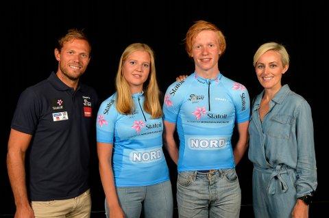 Thor Hushovd (t.v) skryter av tromsøgutten Andreas Rikardsen Leknessund (nr tre f.v) foran sykkel-VM på hjemmebane i september. Her med Nora Sofie Breivik og og Cathrine Instebø, sponsorsjef i Statoil.