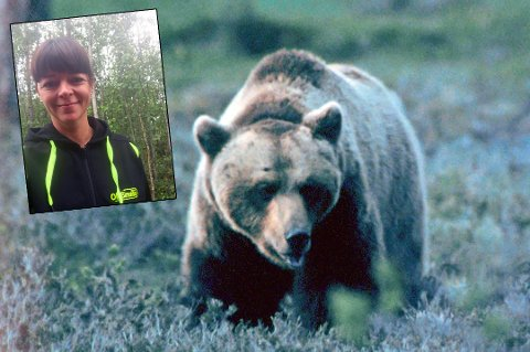 MEKTIG MØTE: En binne med to bjørnunger satte en spiss på  arbeidsdagen til Vanja Simonsen tirsdag.
