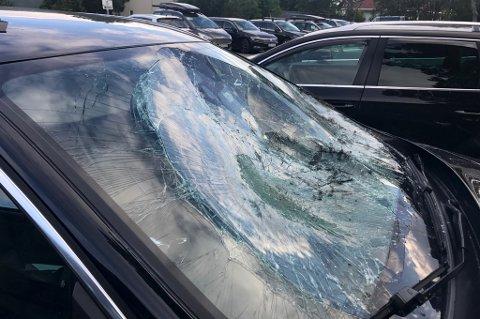 IKKE KJØRBAR: Bilen er ikke kjørbar etter sammenstøtet med elgen.