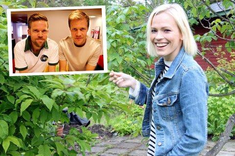 ALLTID BLID: Carina Olset er alltid glad for å være hjemme i Burfjord, og var i omtent like godt humør da hun besøkte Anders Mo Hanssen og Jo Nymo Matland (innfelt) i debutsendingen til fotballpodkasten «JoMos Kosmos».