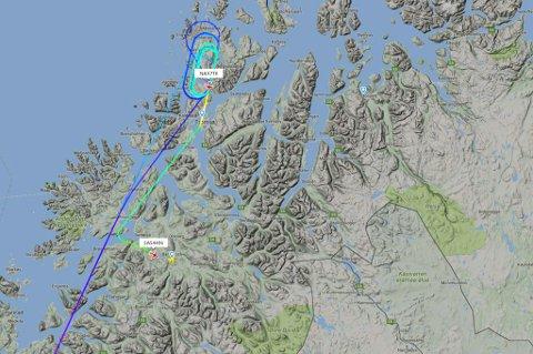 SIRKLER: Flere fly har sirklet over Tromsø i morgen- og formiddagstimene. En del fly er også blitt dirigert til Bardufoss.