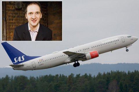 Jon Bertelsen var ombord i et SAS-fly og ble servert av full flyvertinne. Foto: Werner Juvik/ Vidar Ruud, NTB scanpix