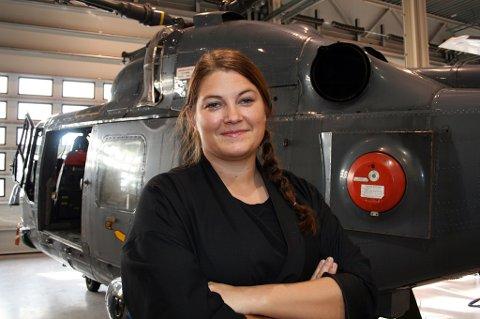 Cecilie Myrseth (Ap). Bildete er tatt i forbindelse med et besøk på helikopterbasen i Bardufoss.