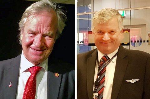 Bjørn Kjos (til venstre) opplever enorm suksess med Norwegian. Ola Giæver satser på eget flyselskap, men lander for siste gang i kveld: Foto: Nordlys