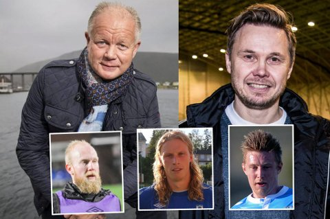 TRIO AKTUELL: Fredrikstad-trenerne Per-Mathias Høgmo og Bjørn Johansen skal ha inn en sentral midtbanespiller. Andreas Løvland (innfelt f.v), Lars Henrik Andreassen og Tomas Kristoffersen er alle aktuelle.