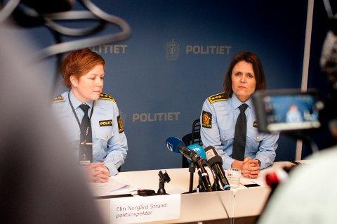 ETTERFORSKER: Politiet fortsetter sin etterforskning av den sedelighetssiktede samfunnstoppen fra Troms. Her er politiinspektør Elin Norgård Strand (til venstre) og politistasjonssjef Anita Hermandsen på en pressekonferanse torsdag kveld.