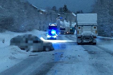 Ulykken har skjedd på E6 midt mellom Andselv og Andslimoen. Foto: Stein Wilhelmsen